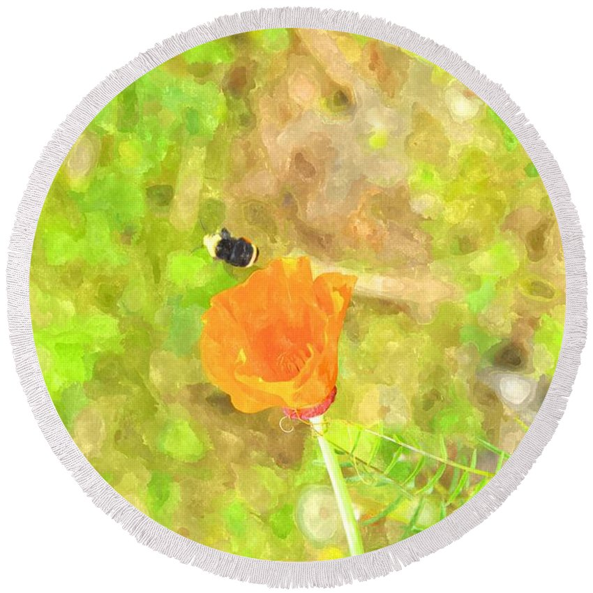 Oregon Round Beach Towel featuring the photograph Bee My Flower by Image Takers Photography LLC - Laura Morgan