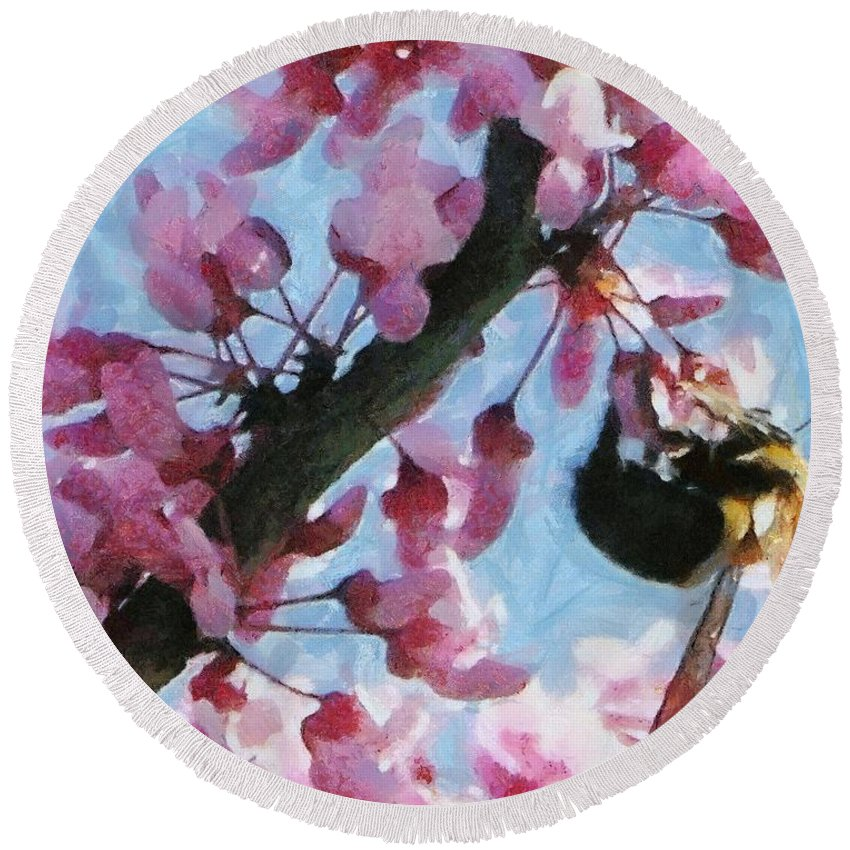 Bee Round Beach Towel featuring the painting Bee To The Blossom by Jeffrey Kolker