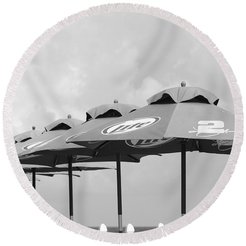 Black And White Round Beach Towel featuring the photograph Beer Unbrellas by Rob Hans