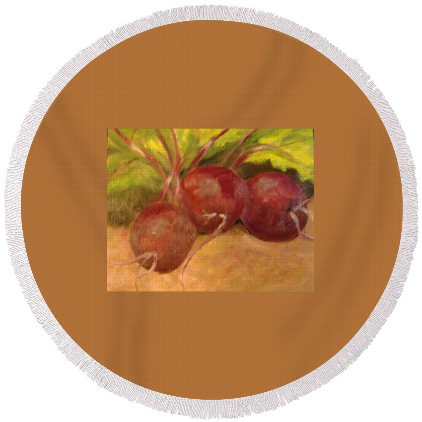 Vegtables Round Beach Towel featuring the painting Beet It by Pat Snook