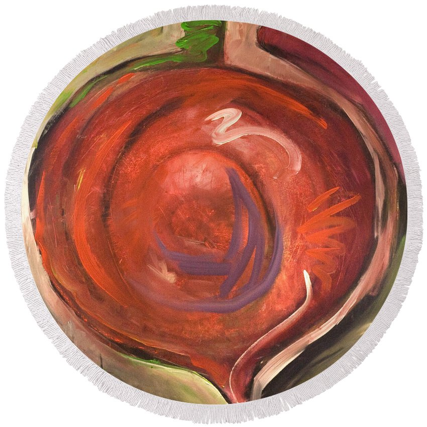 Beet Round Beach Towel featuring the painting Beet It by Tim Nyberg
