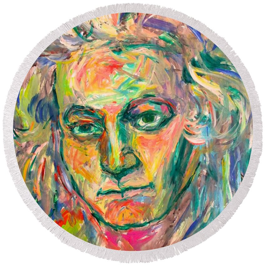 Beethoven Paintings For Sale Round Beach Towel featuring the painting Beethoven Energy by Kendall Kessler