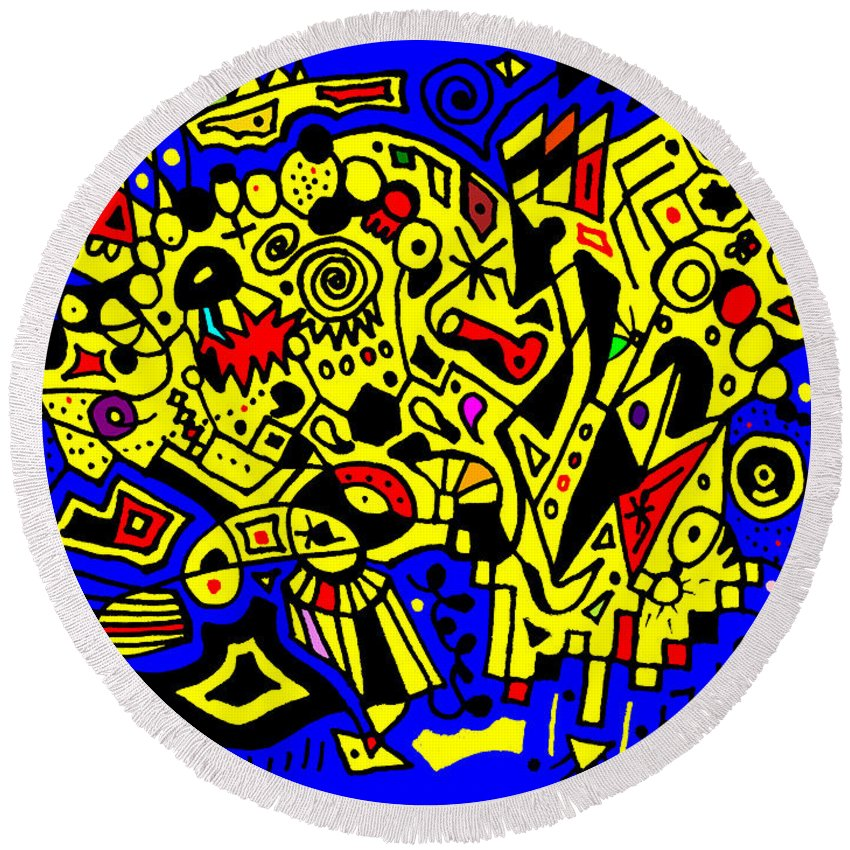 Abstract Round Beach Towel featuring the drawing Before Random Was Cool by Wendy Rickwalt