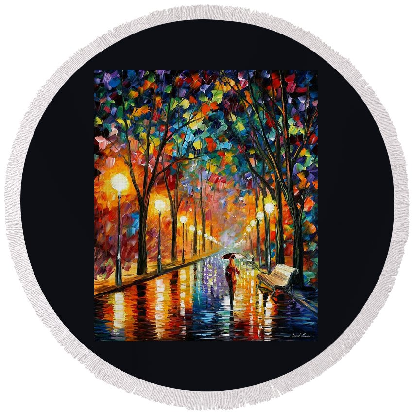 Afremov Round Beach Towel featuring the painting Before The Celebration by Leonid Afremov