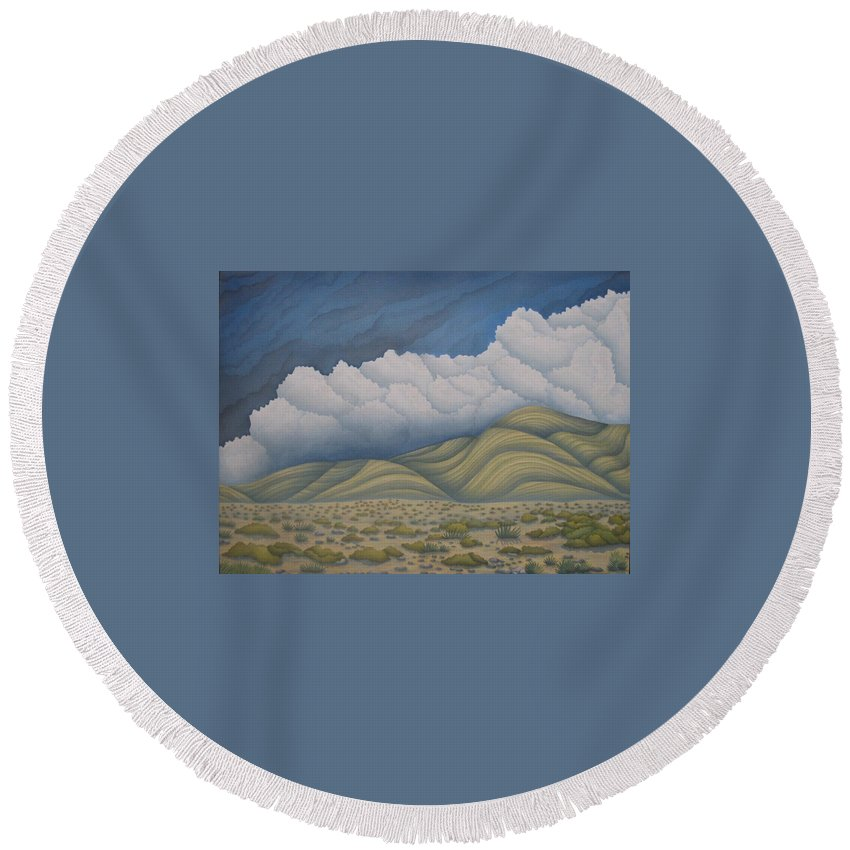 Landscape Round Beach Towel featuring the painting Before The Rain by Jeniffer Stapher-Thomas