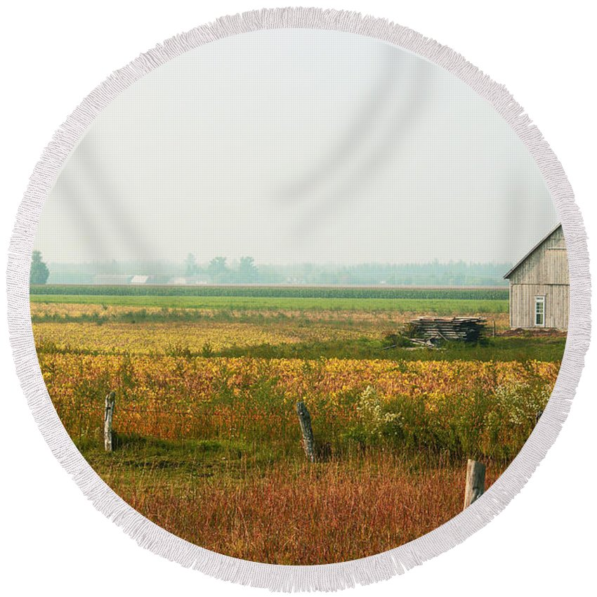 Countryside Round Beach Towel featuring the photograph Before The Sweat by Aimelle