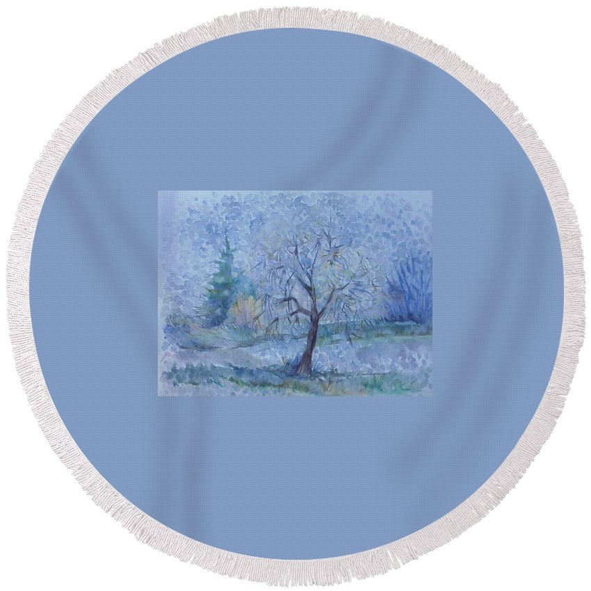 Autumn Round Beach Towel featuring the painting Beginning Of Another Winter by Anna Duyunova
