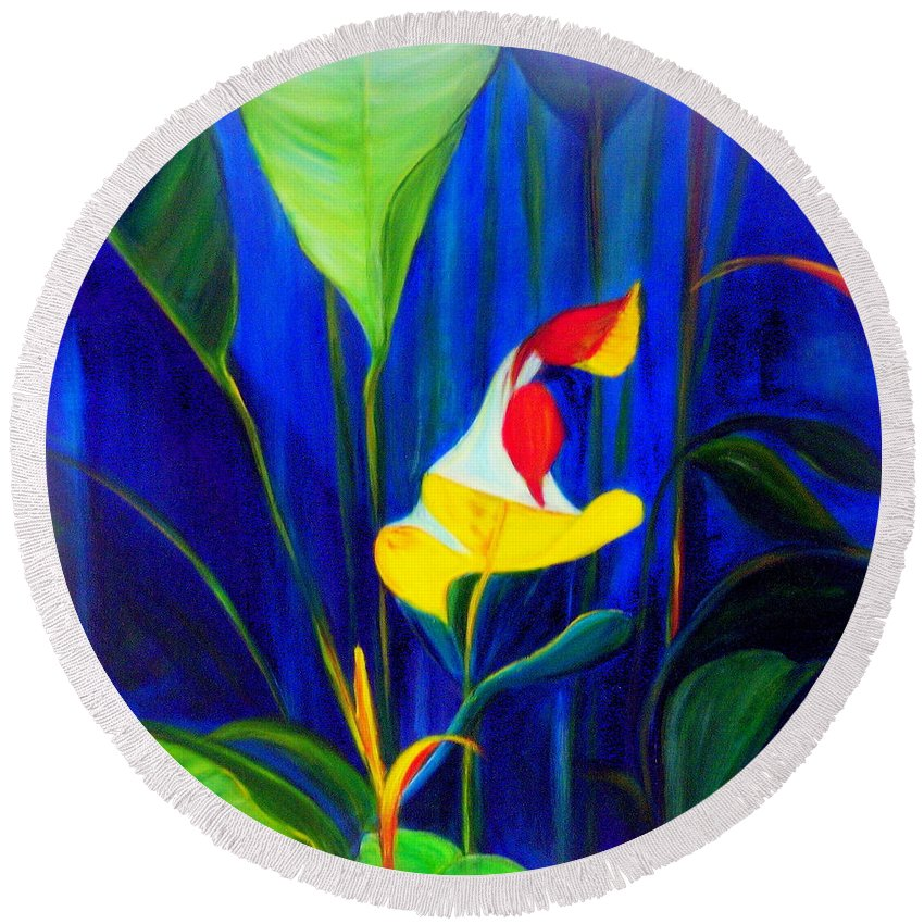 Hawaiian Round Beach Towel featuring the painting Beginnings by Dina Holland