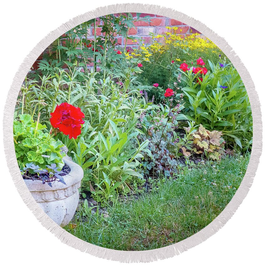 Garden Round Beach Towel featuring the photograph Begonia And Rose by Philip McAlary