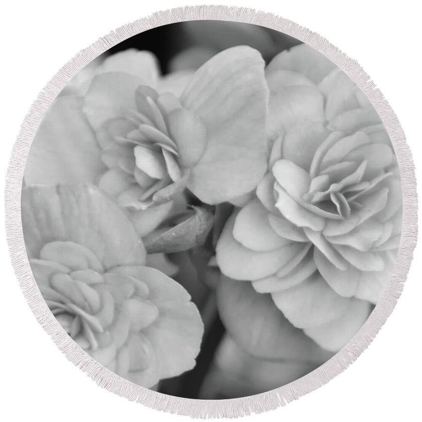 Begonia Round Beach Towel featuring the photograph Begonias In Black And White by Olga Hamilton