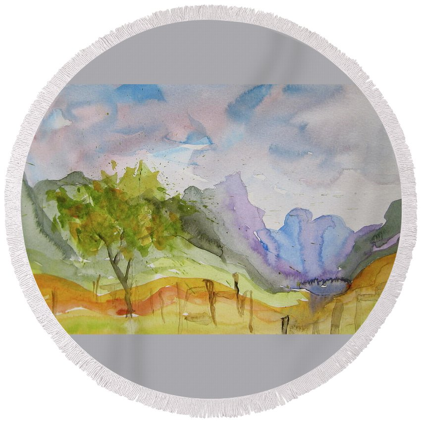 Landscape Round Beach Towel featuring the painting Behind Overland Sheepskin by Beverley Harper Tinsley