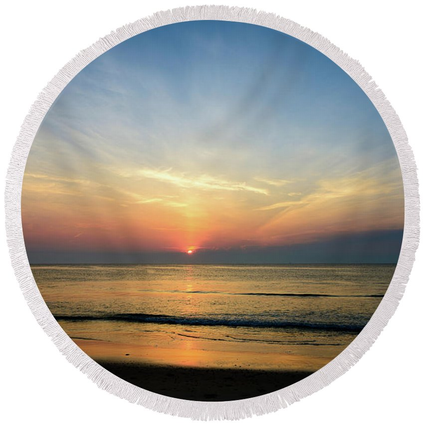 Landscape Round Beach Towel featuring the photograph Behind The Clouds by Michael Scott