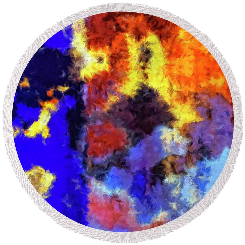 Abstract Round Beach Towel featuring the painting Behind The Curtain 1 by Dominic Piperata