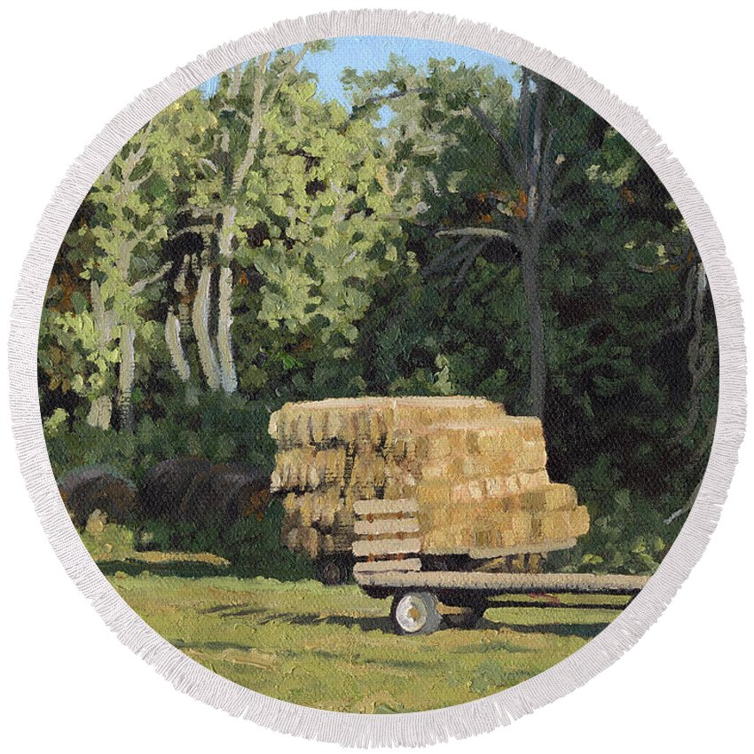 Landscape Round Beach Towel featuring the painting Behind The Grove by Bruce Morrison