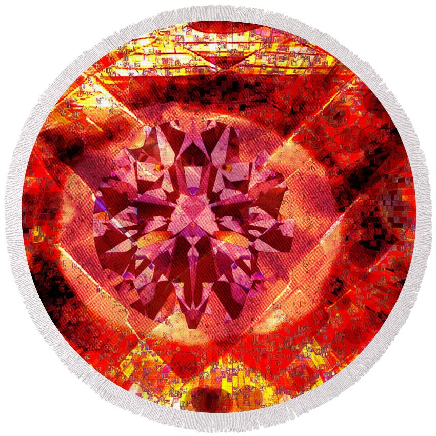 Abstract Round Beach Towel featuring the photograph Behold The Jeweled Eye Of Blood by Seth Weaver