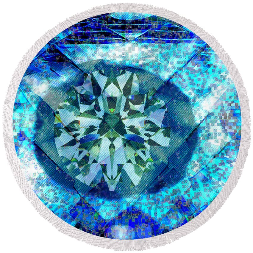 Abstract Round Beach Towel featuring the digital art Behold The Jeweled Eye by Seth Weaver