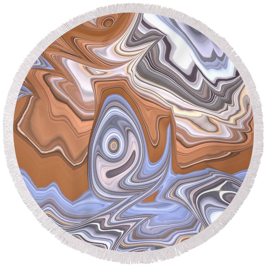 Cloud Abstract Round Beach Towel featuring the digital art Beige And Blue by John Edwards