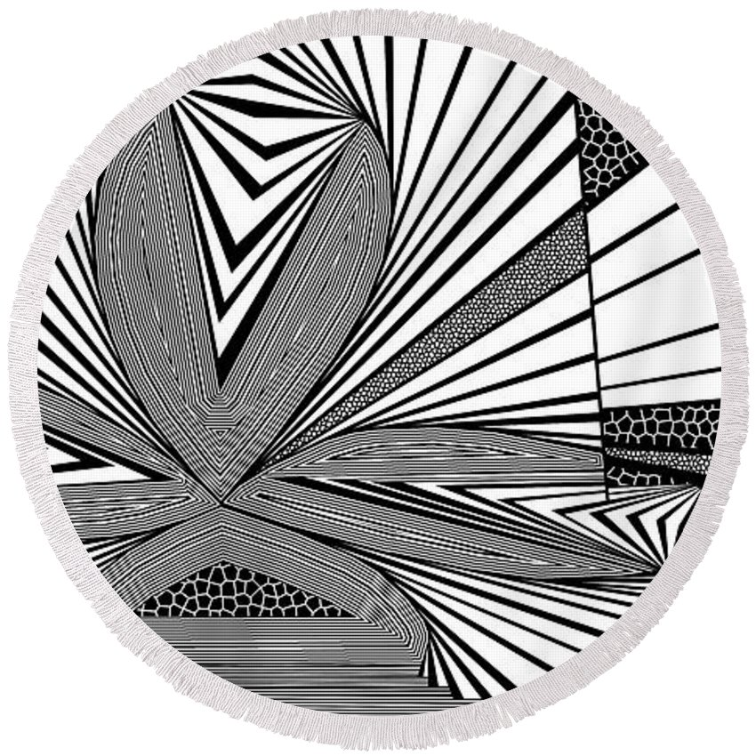 Dynamic Black And White Round Beach Towel featuring the painting Beige Marketeer by Douglas Christian Larsen