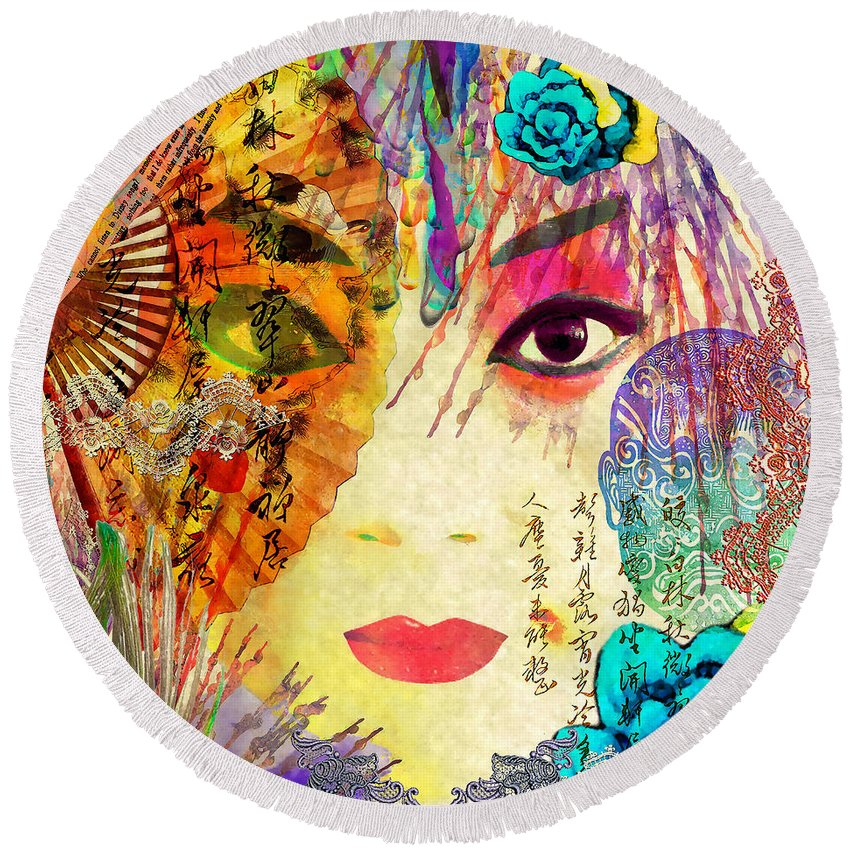 Opera Round Beach Towel featuring the mixed media Beijing Opera Girl by Stacey Chiew