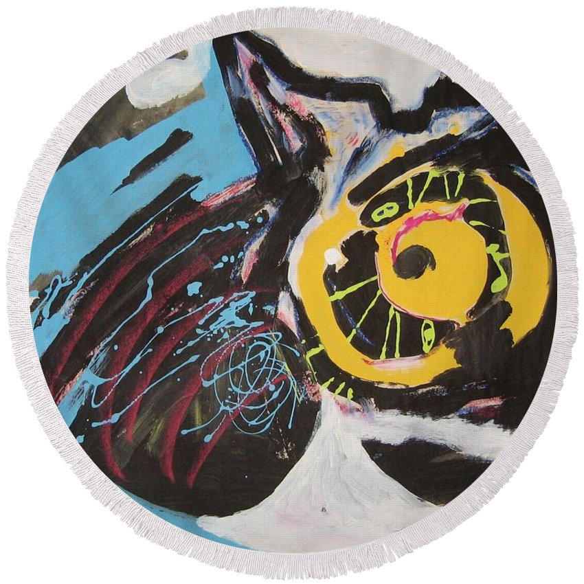 Abstract Cat Paintings Round Beach Towel featuring the painting Being Lazy by Seon-Jeong Kim
