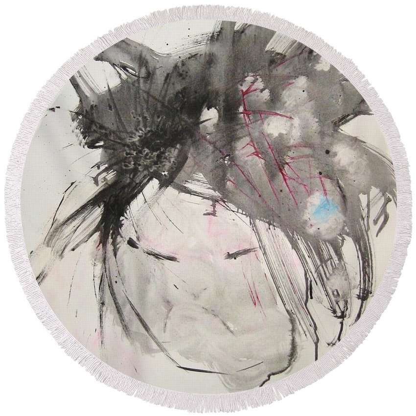 Black And White Paintings Round Beach Towel featuring the painting Being Patient by Seon-Jeong Kim
