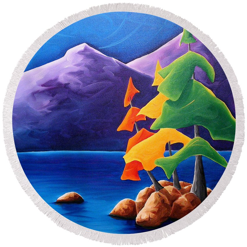 Landscape Round Beach Towel featuring the painting Being Thankful by Richard Hoedl