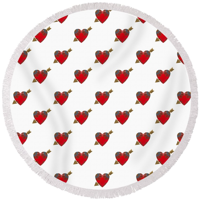 Heart Round Beach Towel featuring the digital art Bejewelled Heart Half Drop by Deborah Runham