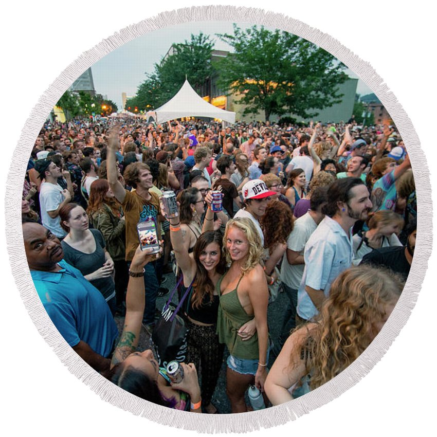 Asheville Round Beach Towel featuring the photograph Bele Chere Festival Crowd by David Oppenheimer