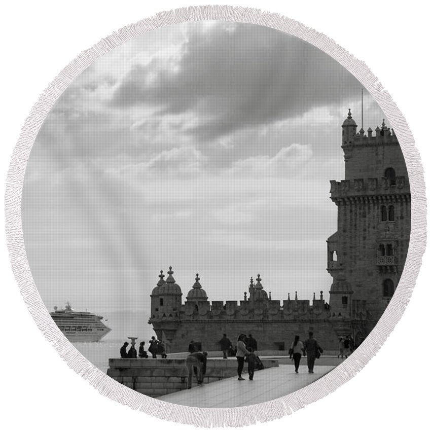 Lisbon Round Beach Towel featuring the photograph Belem And The Boat by Lorraine Devon Wilke