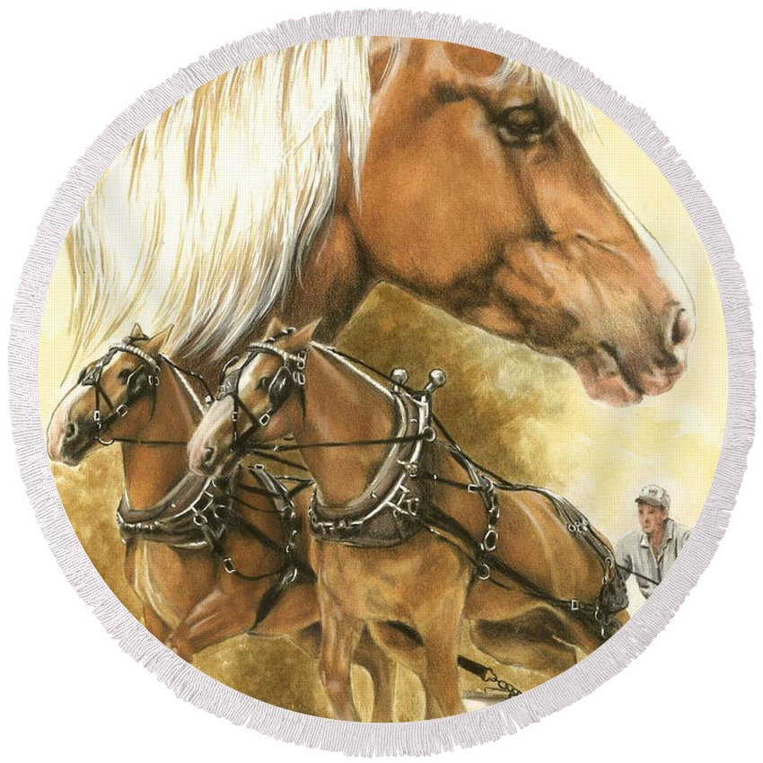 Equus Round Beach Towel featuring the mixed media Belgian by Barbara Keith