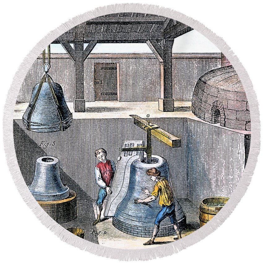 1763 Round Beach Towel featuring the photograph Bell Casting, 1763 by Granger