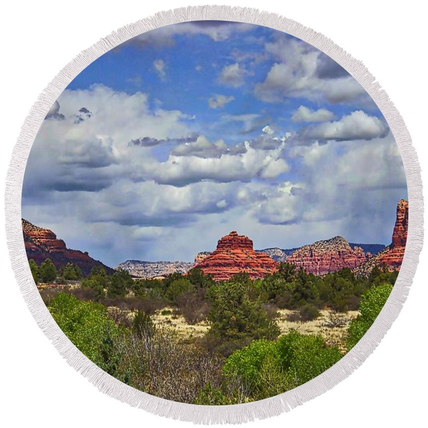 Bell Rock Round Beach Towel featuring the photograph Bell Rock by Ty Shults