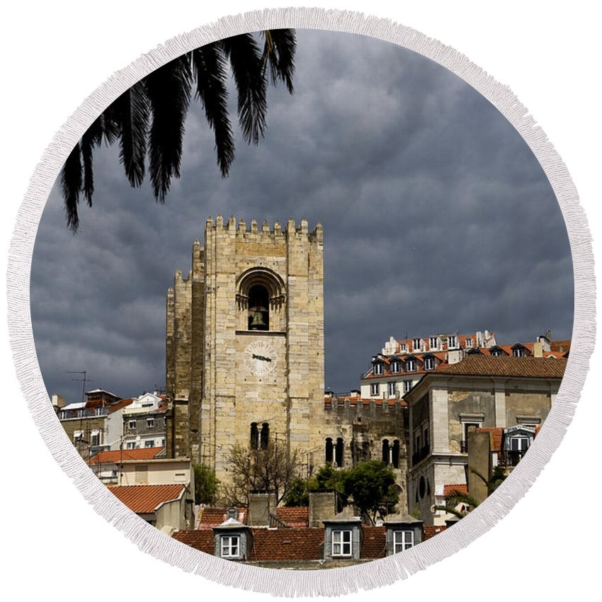 Lisbon Round Beach Towel featuring the photograph Bell Tower Against Roiling Sky by Lorraine Devon Wilke