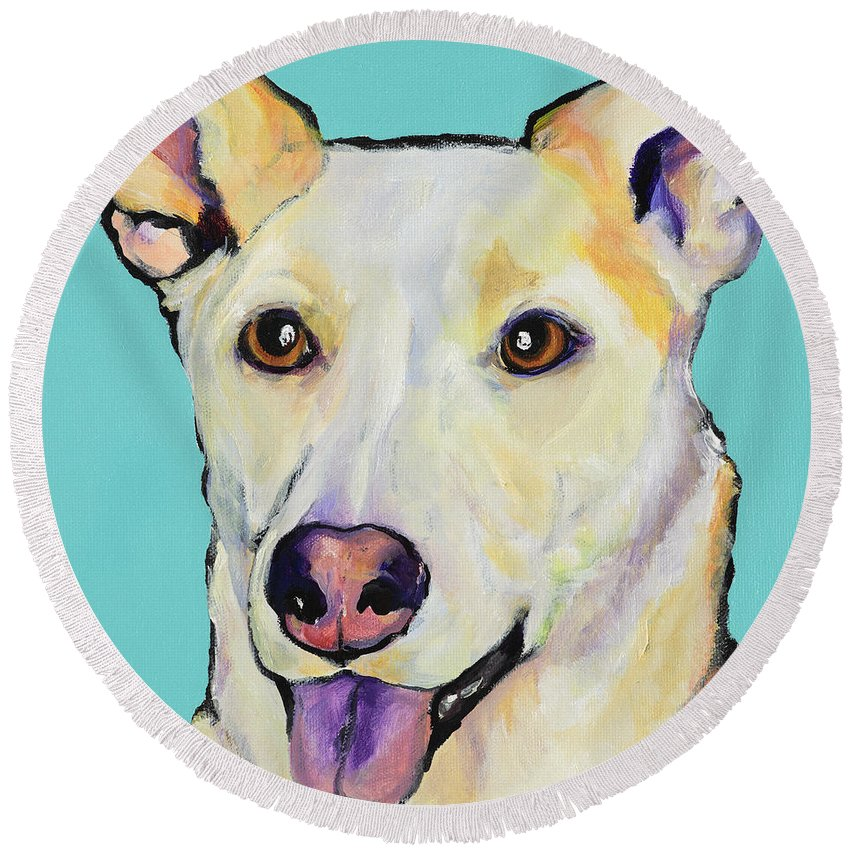 Dog Paintings Round Beach Towel featuring the painting Bella by Pat Saunders-White