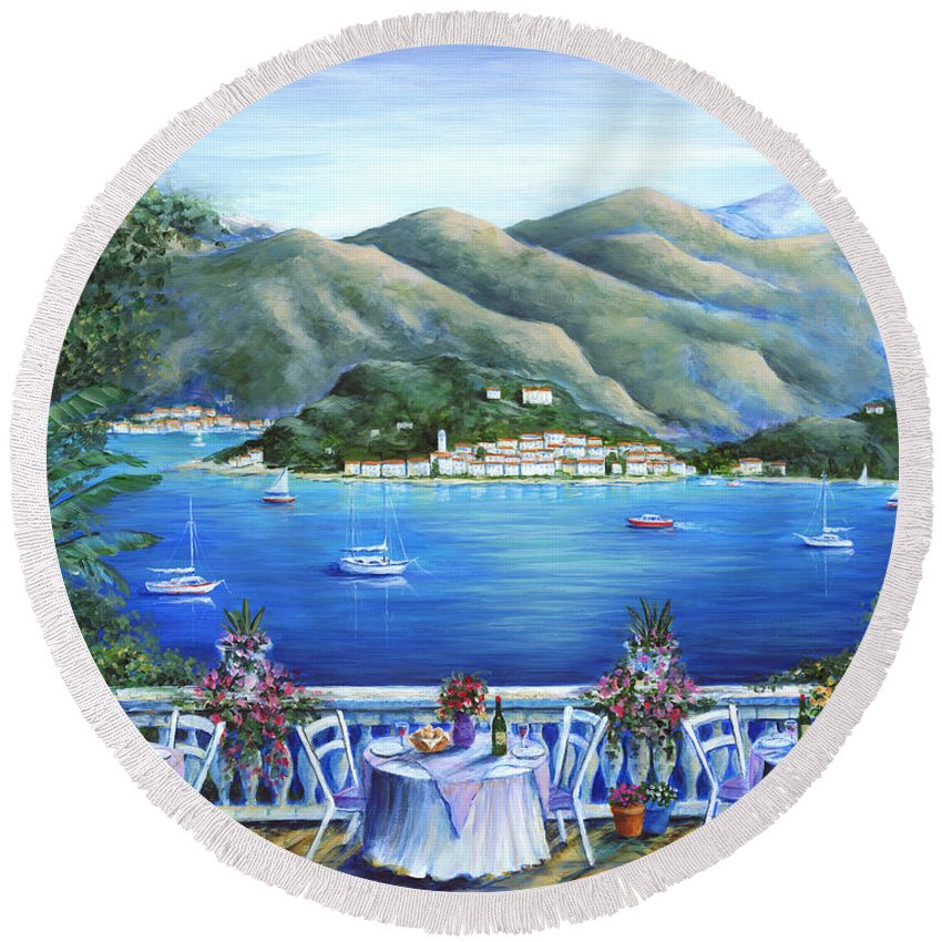 Bellagio Round Beach Towel featuring the painting Bellagio From The Cafe by Marilyn Dunlap
