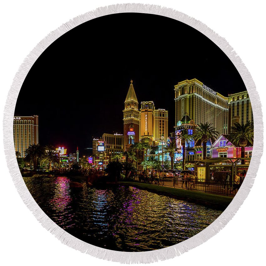 2014 Round Beach Towel featuring the photograph Bellagio On The Las Vegas Strip by Tommy Anderson