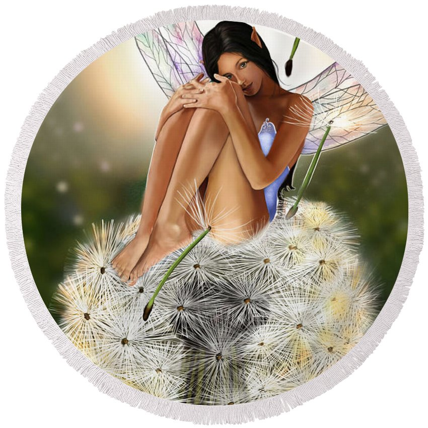 Fairy Round Beach Towel featuring the painting Belle by Maggie Terlecki