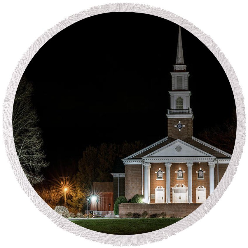 Belle Meadows Baptist Church Round Beach Towel featuring the photograph Belle Meadows Baptist Church by Dion Wiles