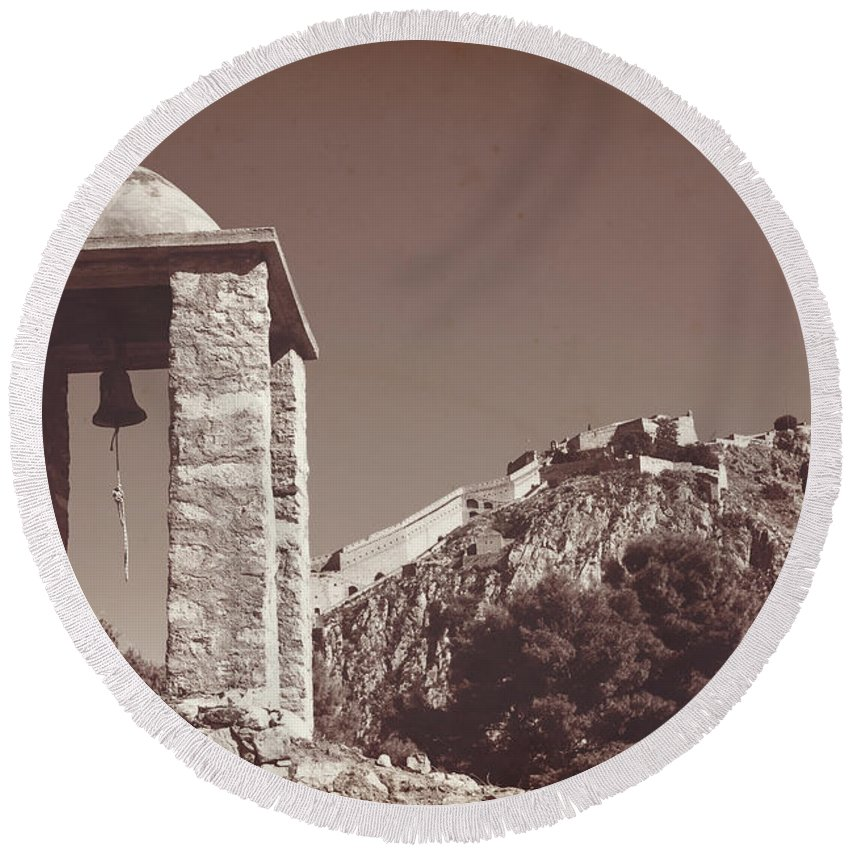 Belltower Round Beach Towel featuring the photograph Belltower And Fortress Of Palamidi, Nafplio, Greece. Sepia. by Anna Finist