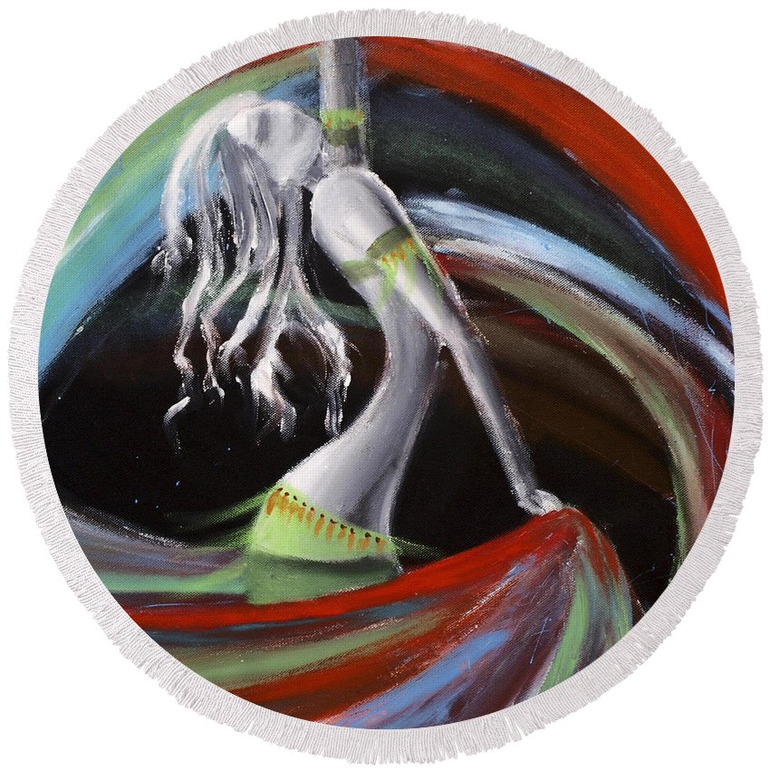 Colourful Round Beach Towel featuring the painting Belly Dancer by Kelly Jade King