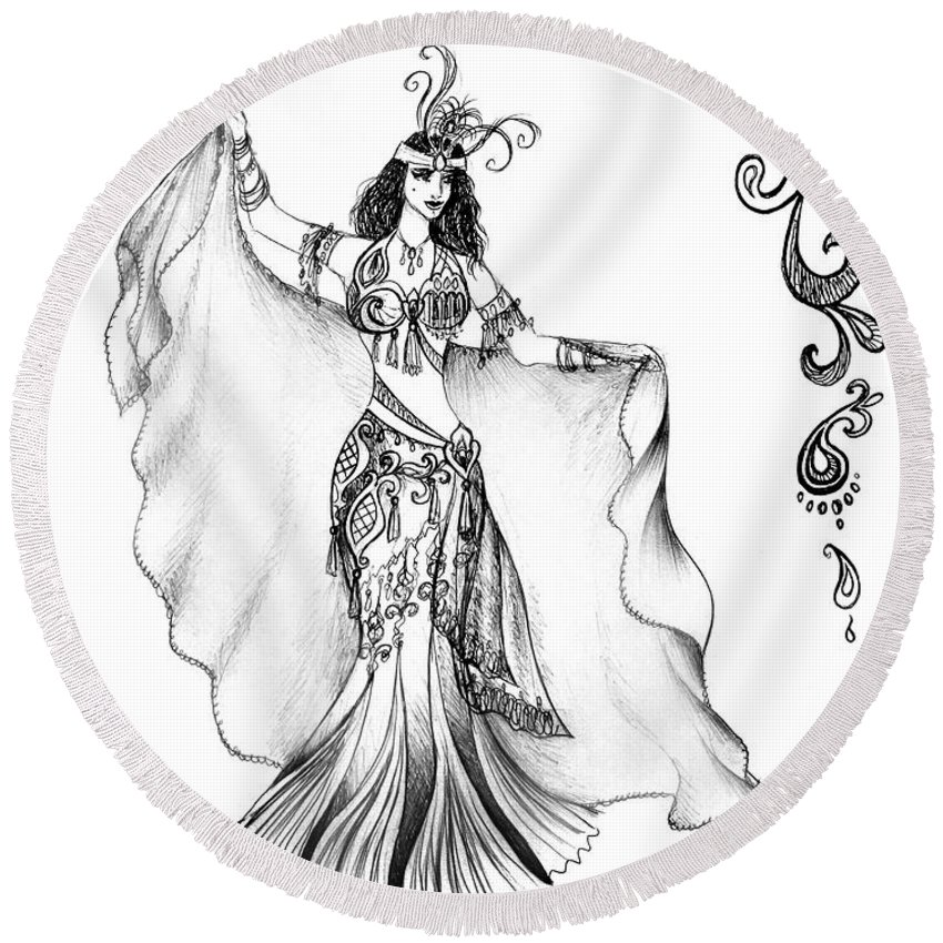 Belly Dancer Round Beach Towel featuring the drawing Belly Dancer With Veil. Friend Of Ameynra by Sofia Metal Queen