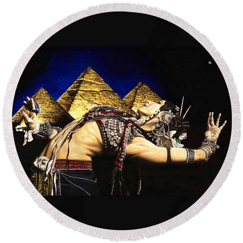 Bellydance Round Beach Towel featuring the painting Bellydance of the Pyramids - Rachel Brice by Richard Young