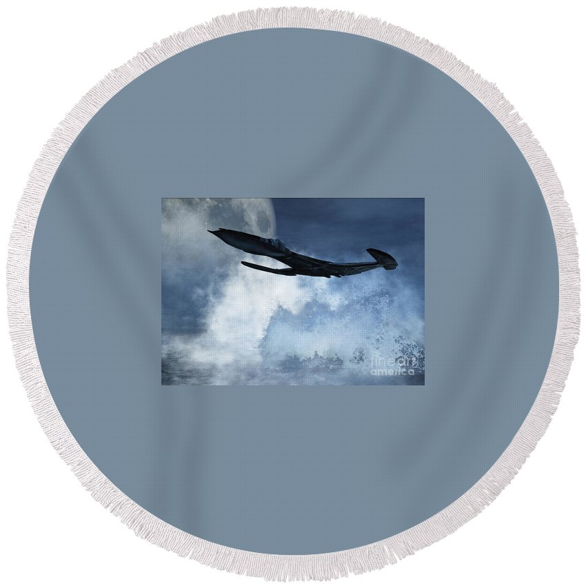 Flight Round Beach Towel featuring the digital art Below Radar by Richard Rizzo