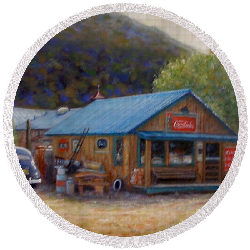 Realism Round Beach Towel featuring the painting Below Taos 2 by Donelli DiMaria