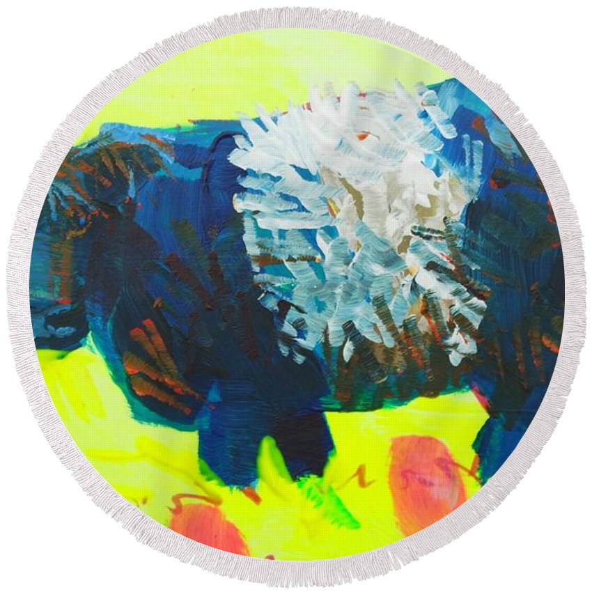 Belted Galloway Cow Round Beach Towel featuring the painting Belted Galloway Cow Looking At You by Mike Jory