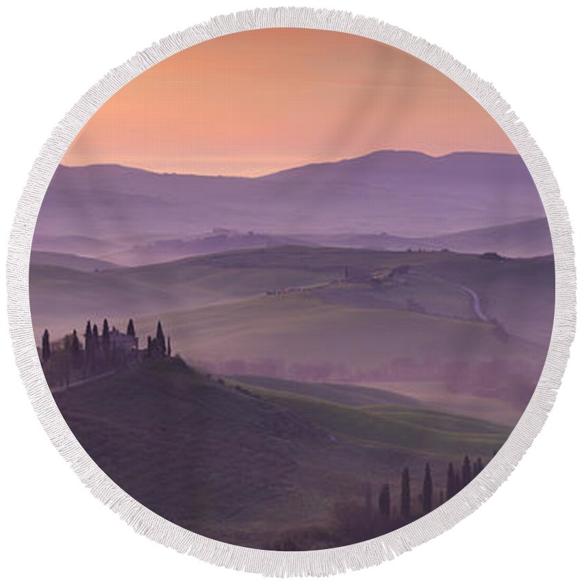 April Round Beach Towel featuring the photograph Belvedere And Tuscan Countryside by Brian Jannsen