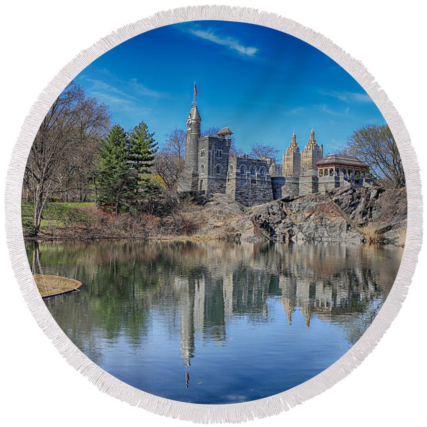 Castle Round Beach Towel featuring the photograph Belvedere Castle And Turtle Pond by Paul Fell