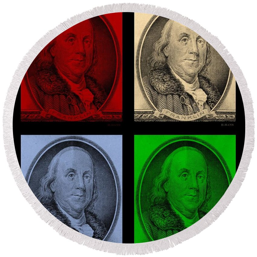 Ben Franklin Round Beach Towel featuring the photograph Ben Franklin In Colors by Rob Hans