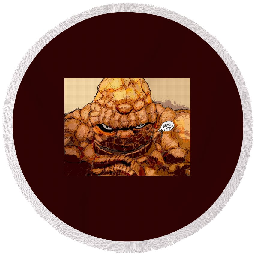 Superhero Art Round Beach Towel featuring the painting Ben Grimm by Jazzboy