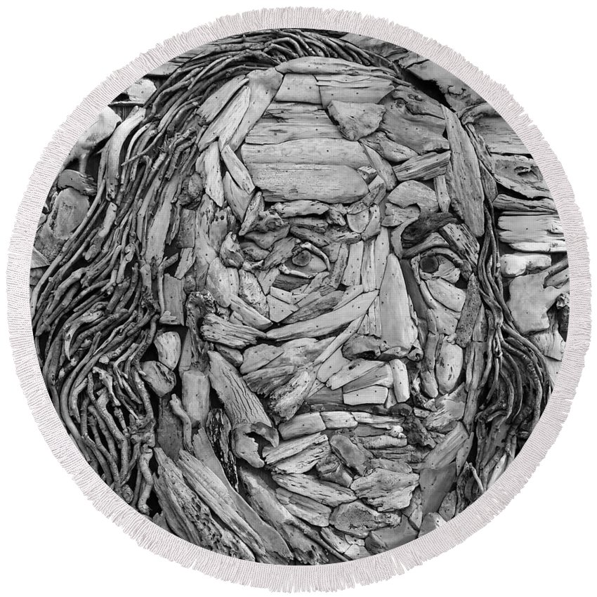 Ben Franklin Round Beach Towel featuring the photograph Ben In Wood B W by Rob Hans